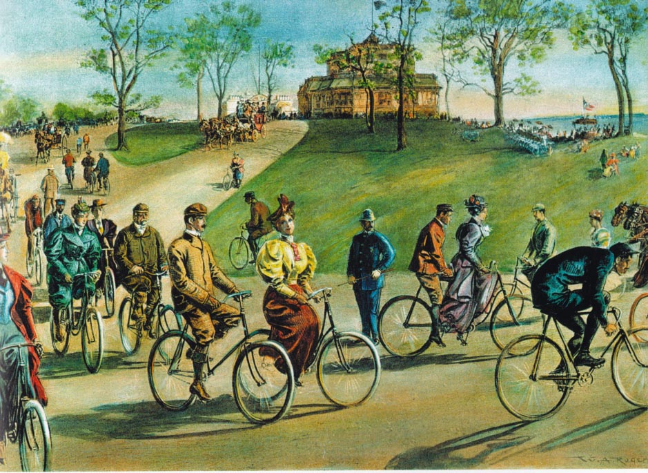 WHEELY GREAT...cyclists take in the scenery on Riverside Drive in 1895