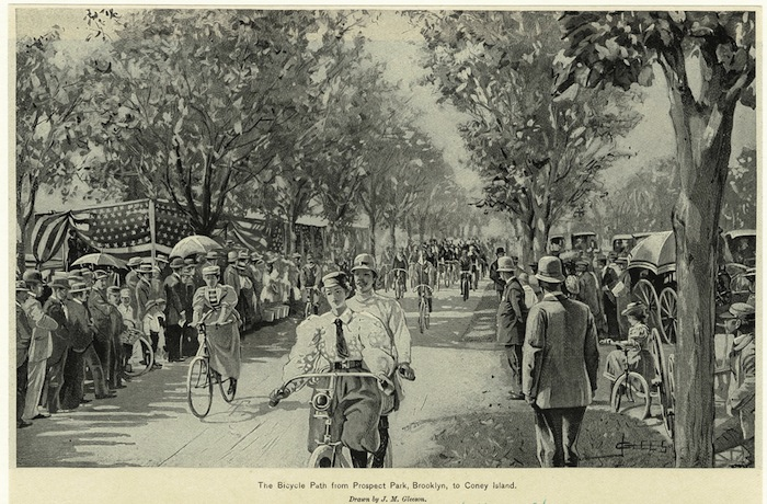 SMOOTH RIDE...cyclists enjoy the Coney Island Cycle Path in 1896