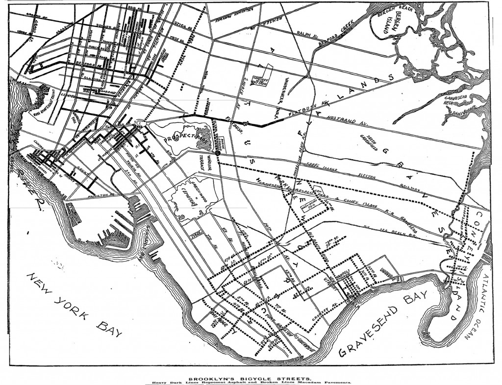 IN LINE...map of New York City's roads 'best for wheeling' in 1895