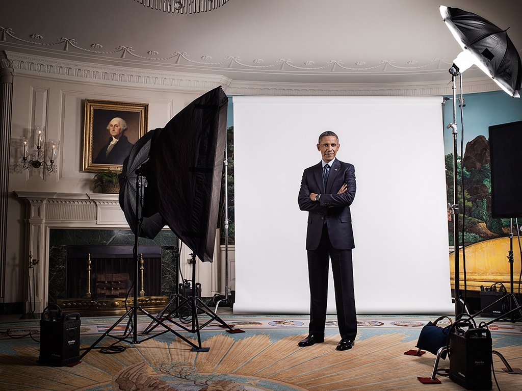 LEGACY...President Obama with the famous portrait of Washington in the background