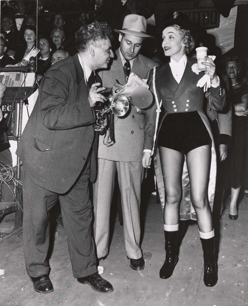 Weegee with Marlene Dietrich, circa 1950. Unidentified photographer © International Center of Photography