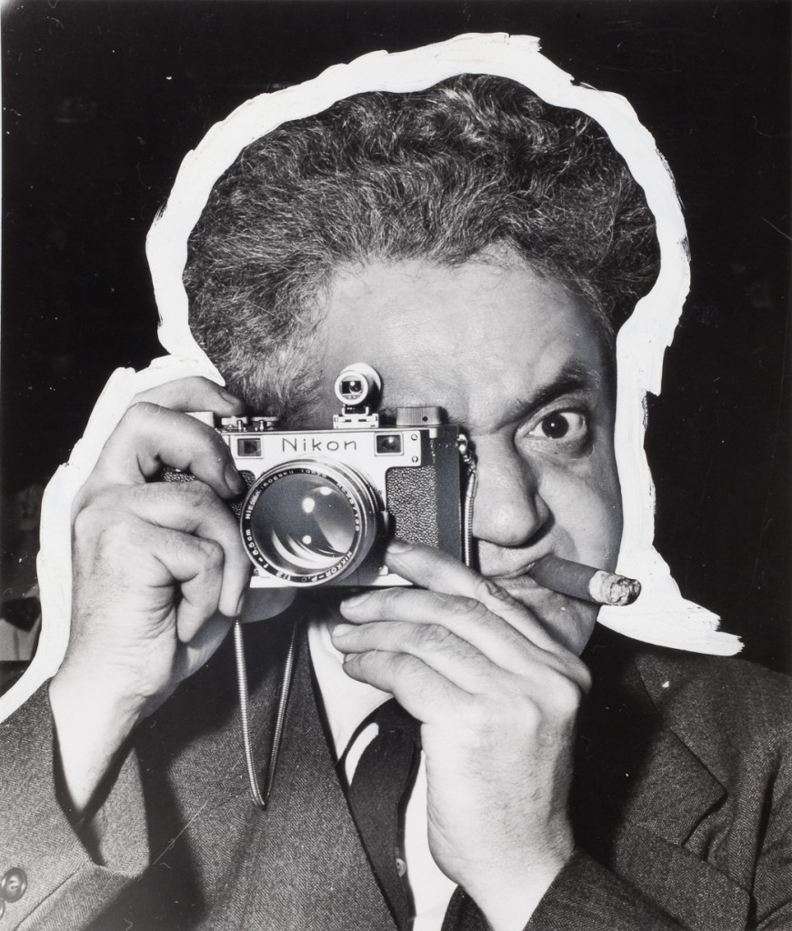 Self-portrait with distortion, circa 1955. Pic by Weegee ©International Center of Photography