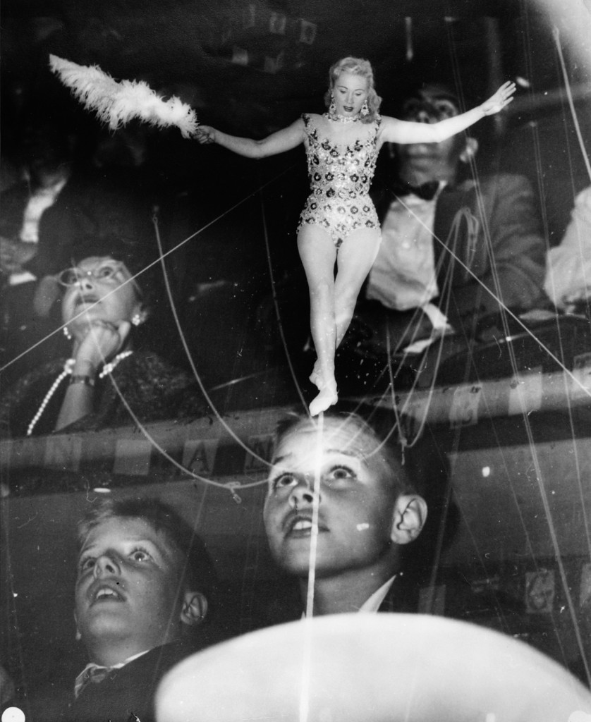 Circus performer and audience, circa 1955. Pic by Weegee © International Center of Photography.