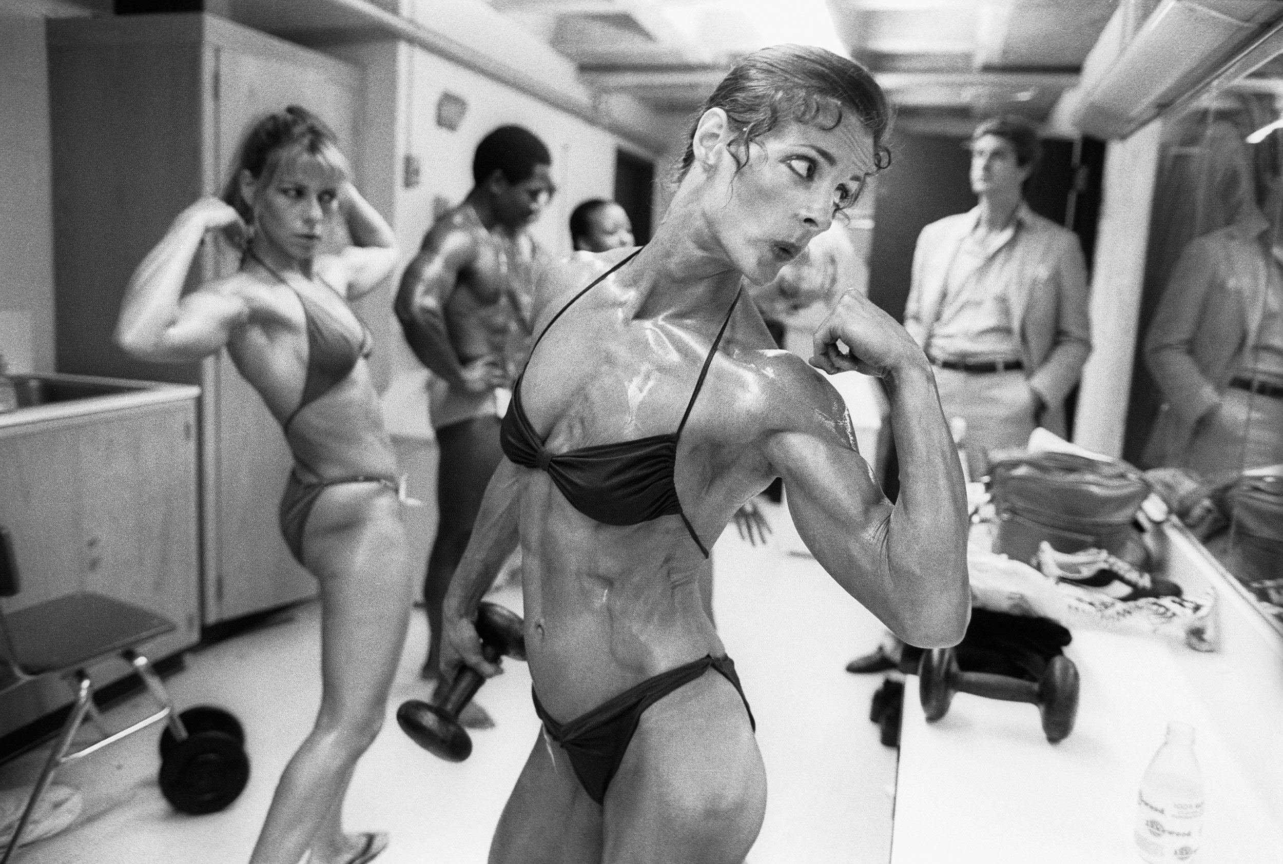 RIPPED...Valerie Mayers shows off her biceps backstage before winning the Ms Empire State Competition in 1981
