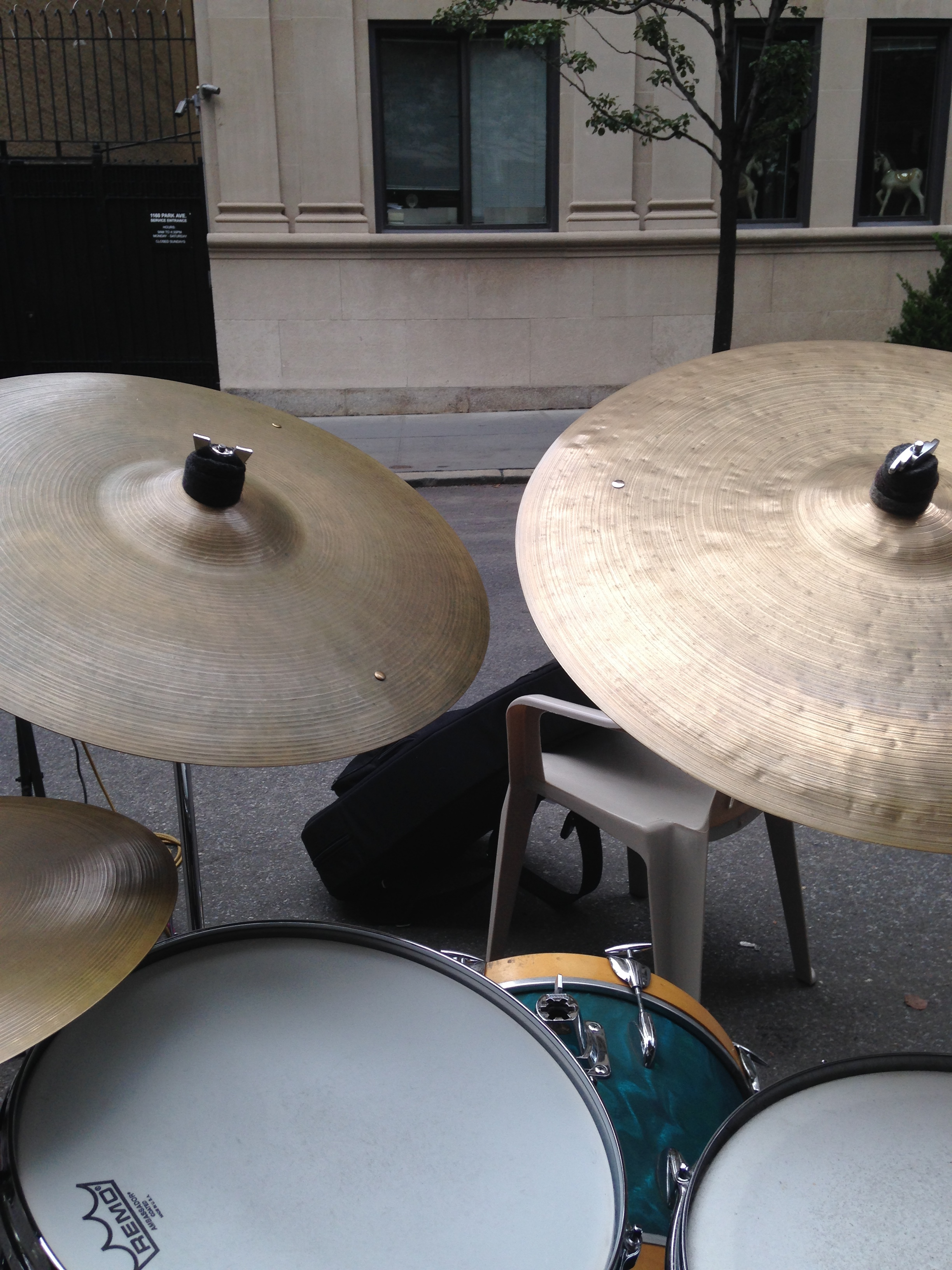 STATUS CYMBAL...view from the drum kit at an outdoor gig to celebrate a sculpture being restored
