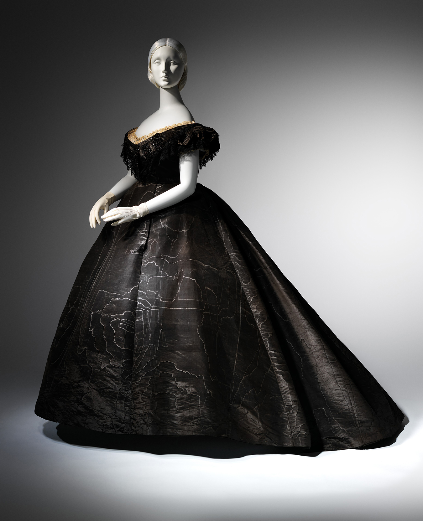 Evening Dress, ca. 1861 Black moiré silk, black jet, black lace