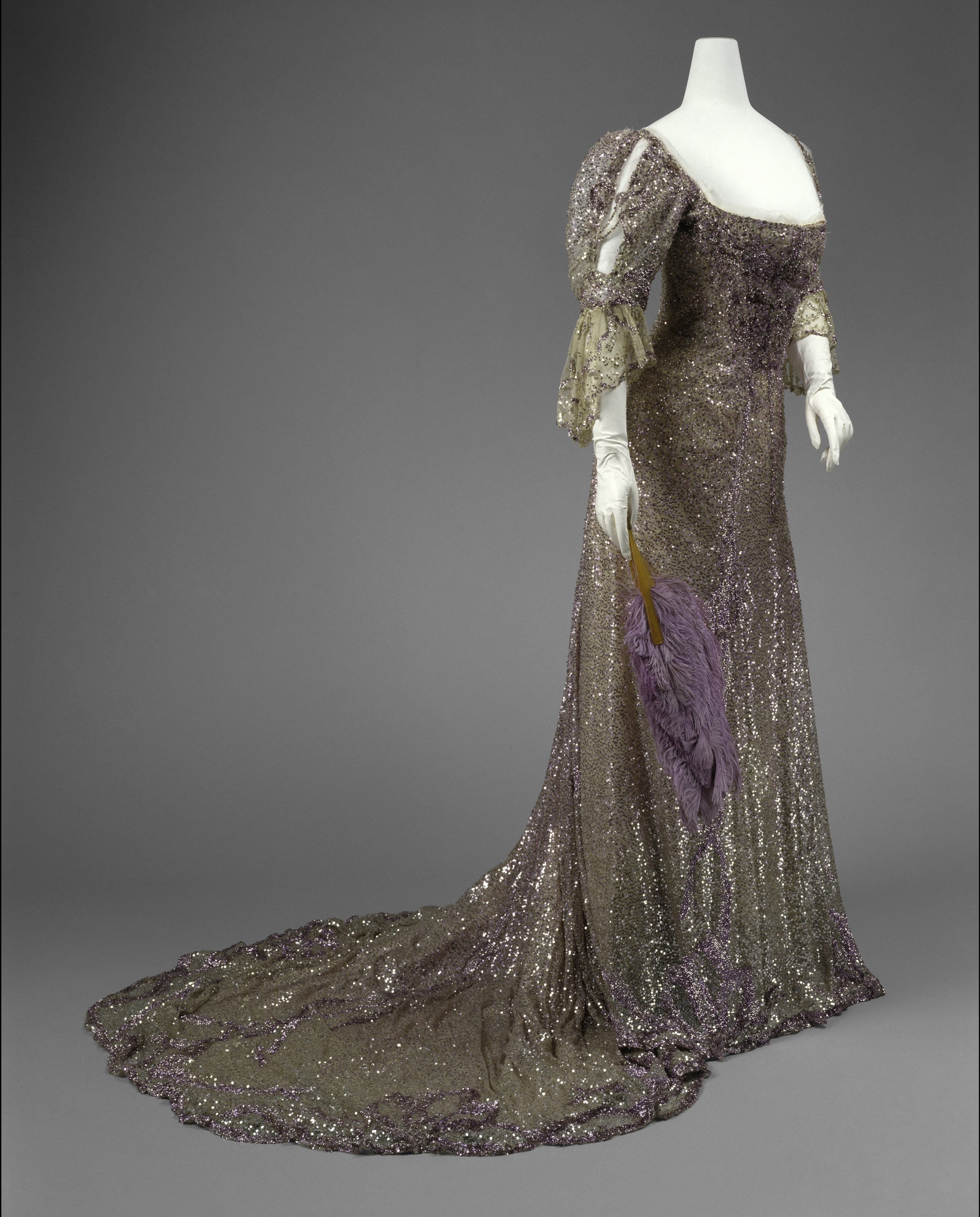 Henriette Favre (French) Evening Dress, 1902 Worn by Queen Alexandra (British, born Denmark, 1844–1925) Mauve silk tulle, sequins