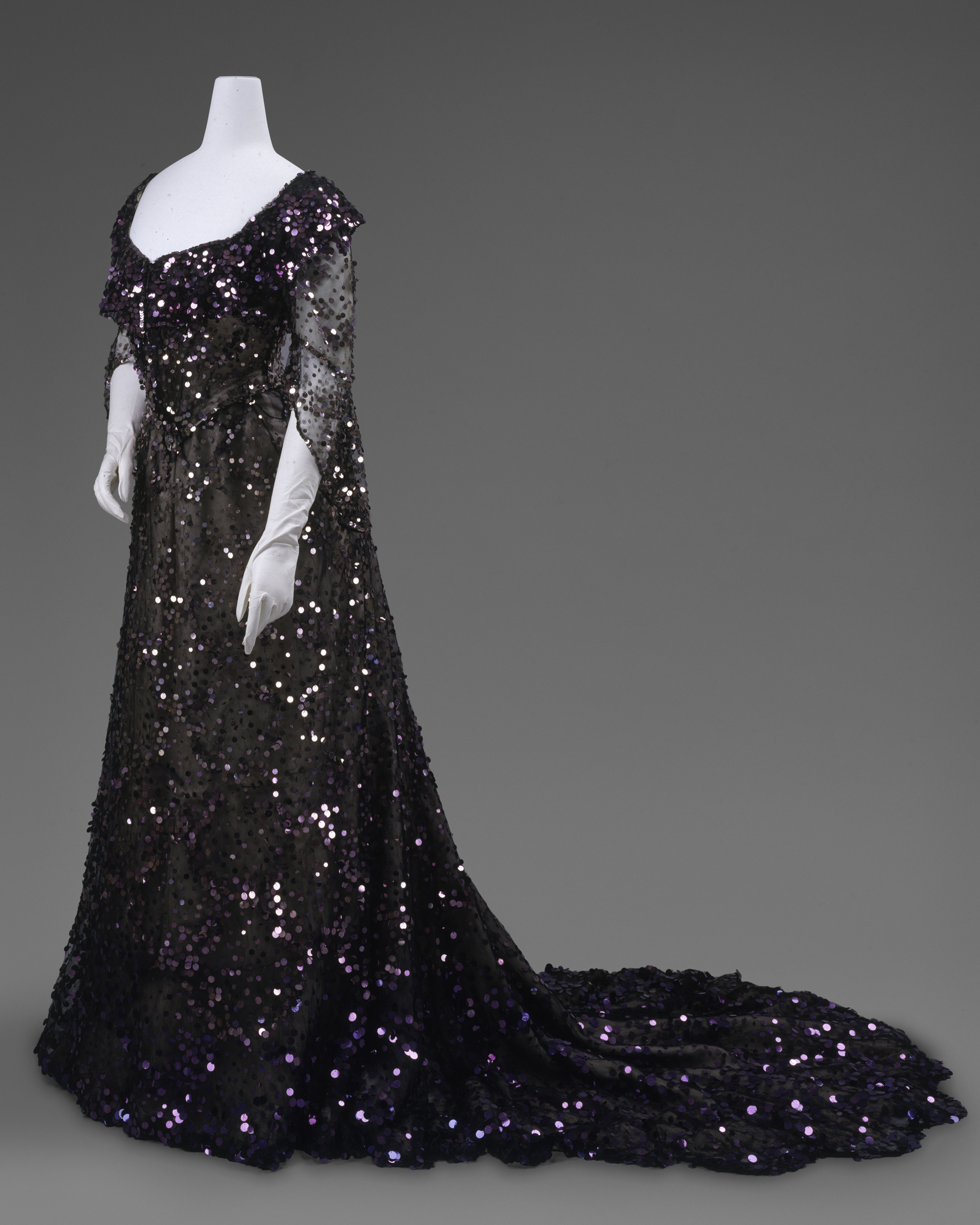 Evening Dress, 1902 Worn by Queen Alexandra (British, born Denmark, 1844–1925) Black silk tulle, mauve silk chiffon, purple sequins