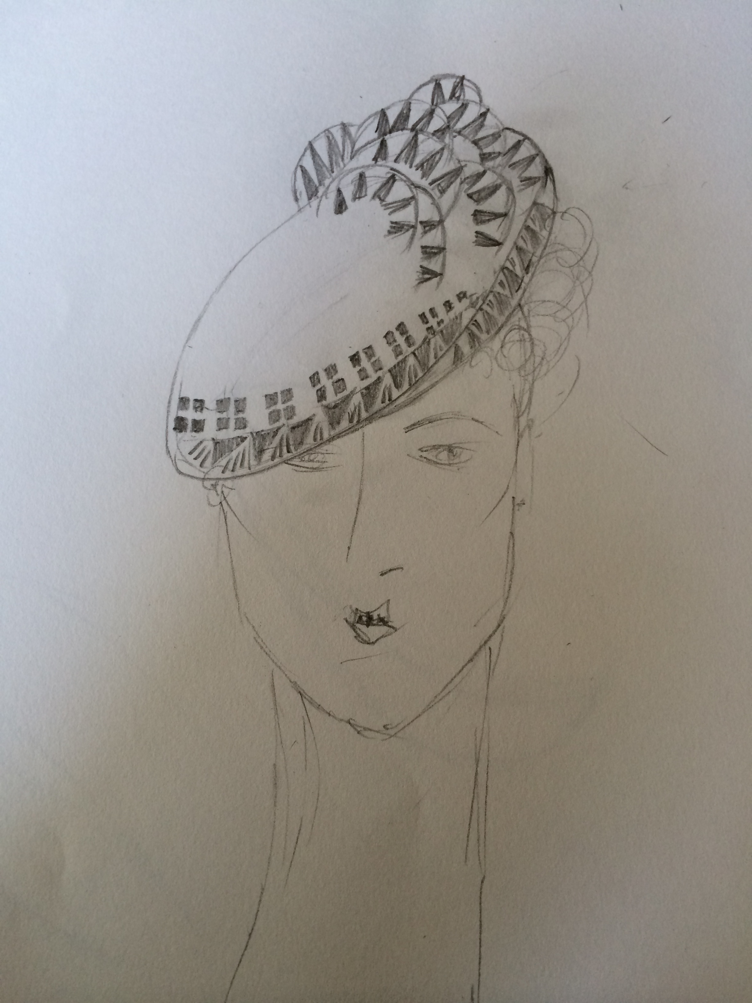 SKETCH...the original drawing of the Chrysler hat, by Boo Paterson