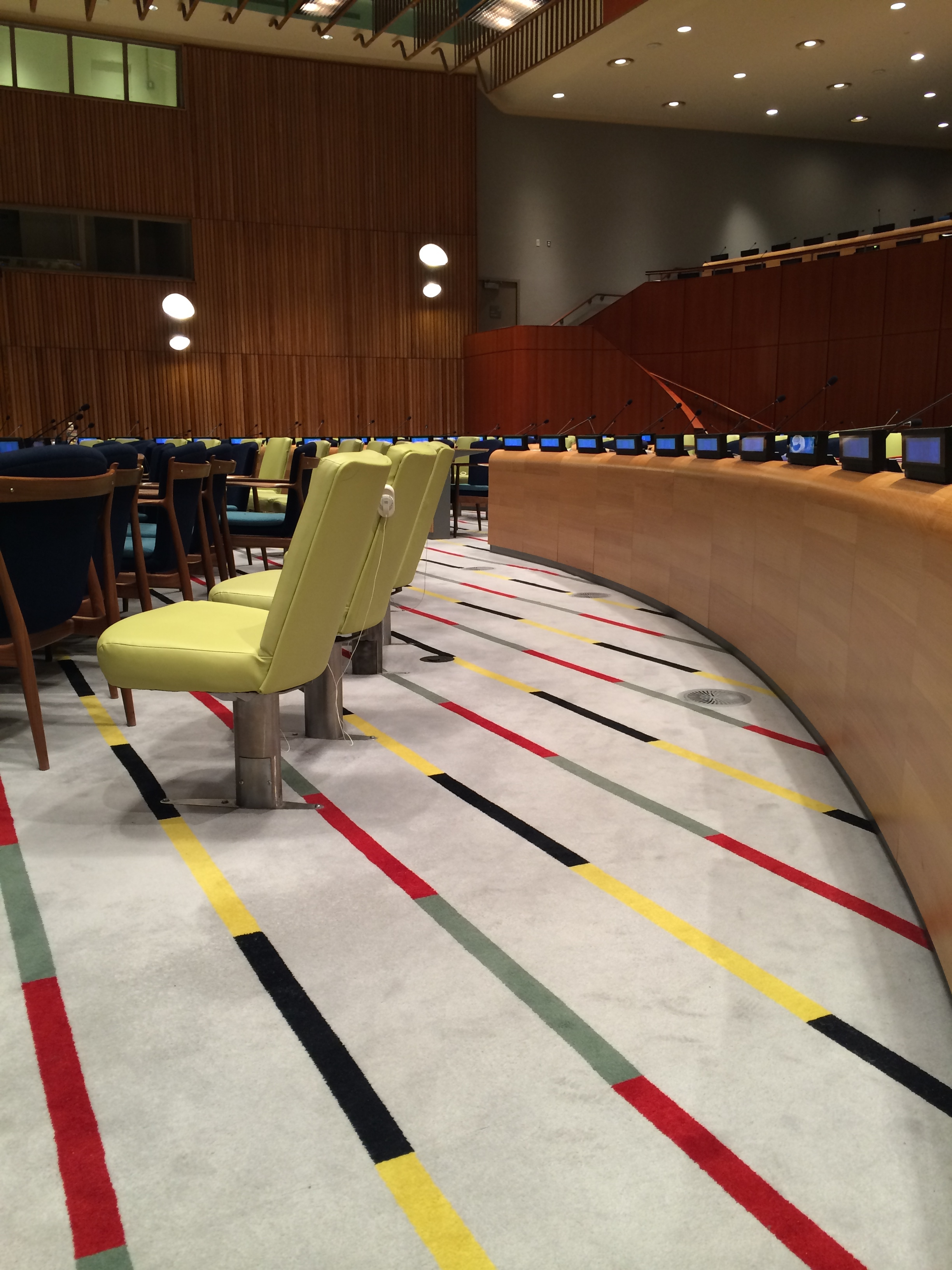 STRIPES...playful carpet design in the Trusteeship Council Chamber