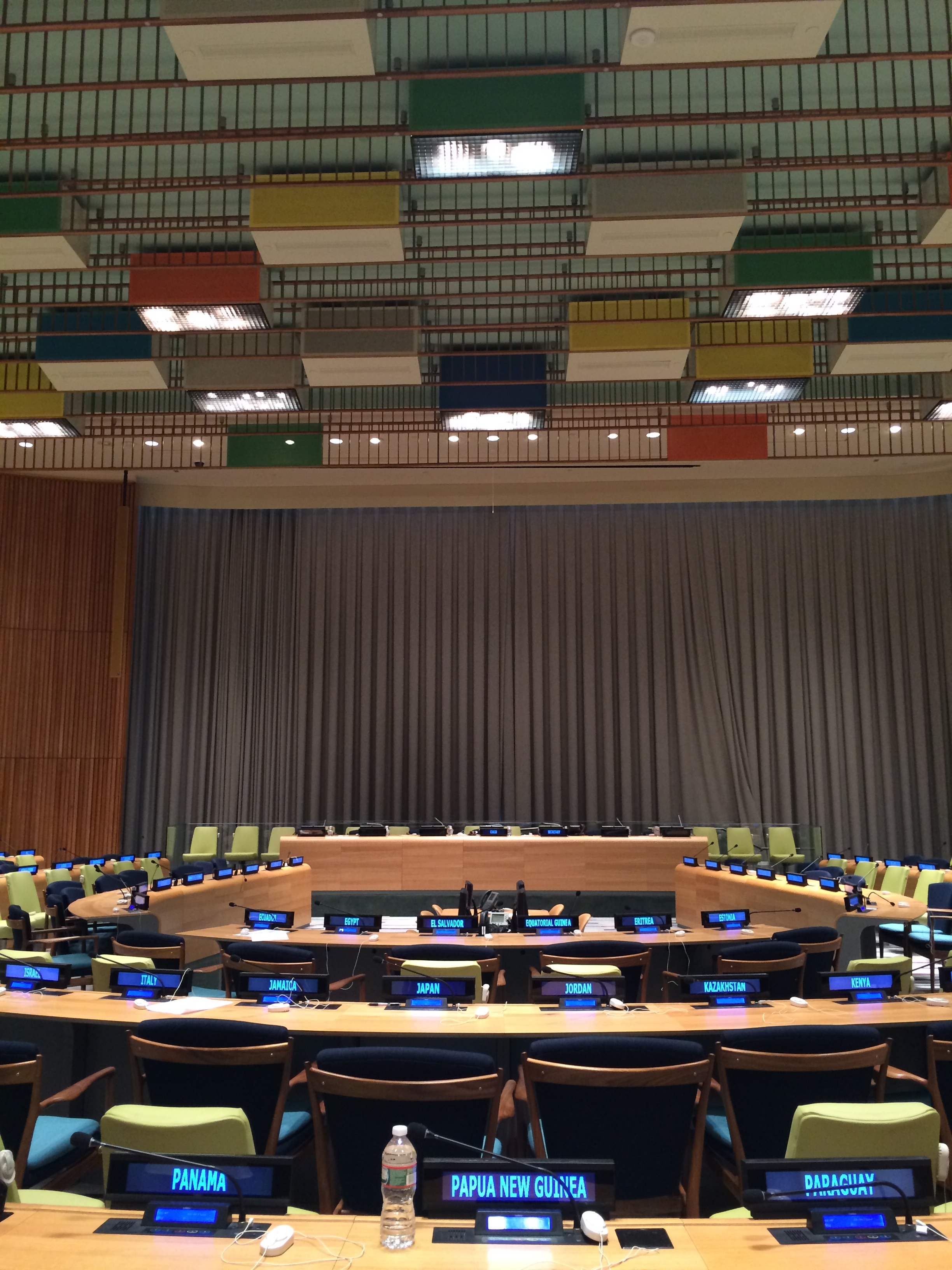 SQUARING THE CIRCLE...box lights in primary colors at the Trusteeship Council Chamber