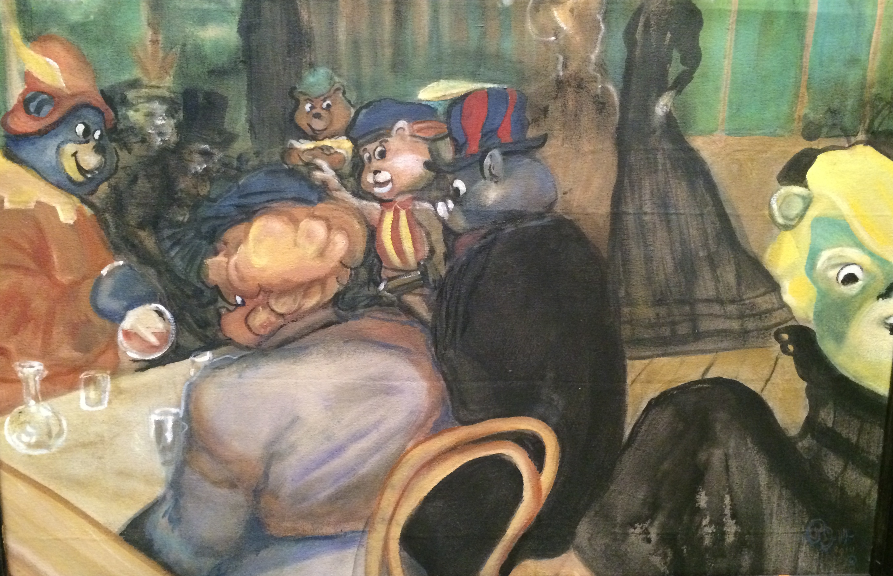 BEAR NECESSITIES...a take on the work of Lautrec with Toulouse la Gummi