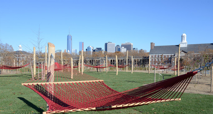 LAZE AROUND...doze off in a double hammock on Governors Island