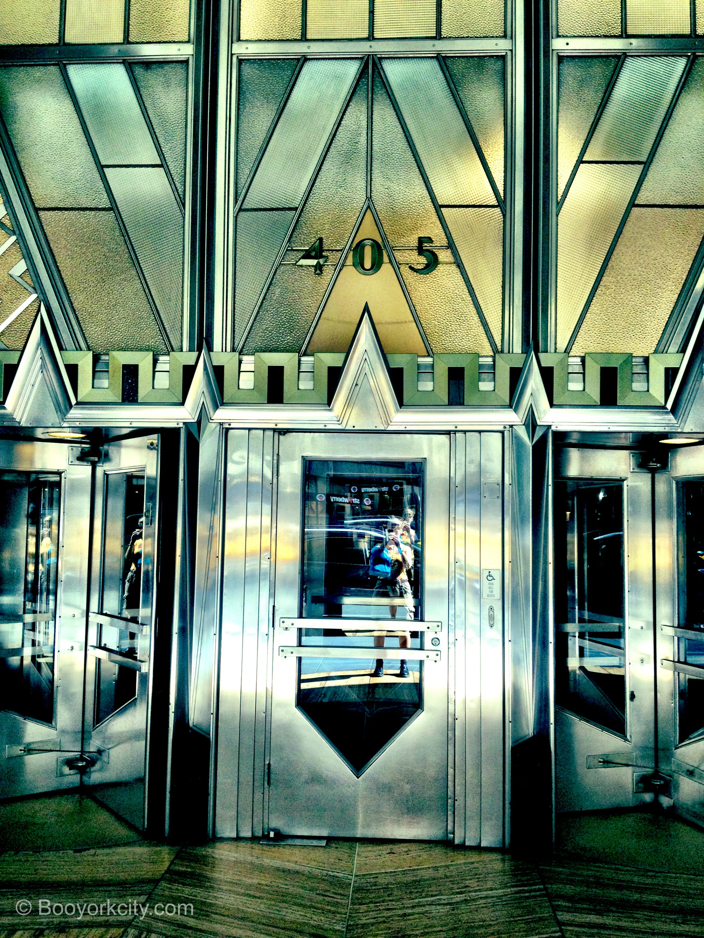 SHINING EXAMPLE...the Chrysler's glorious entrance from Lexington Avenue
