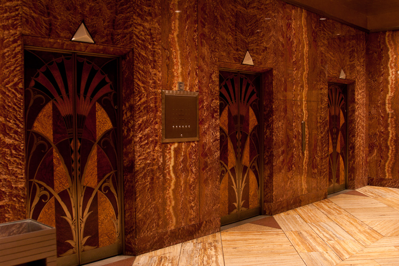 GOING UP...the Chrysler Building's elevator doors are inlaid with rare woods