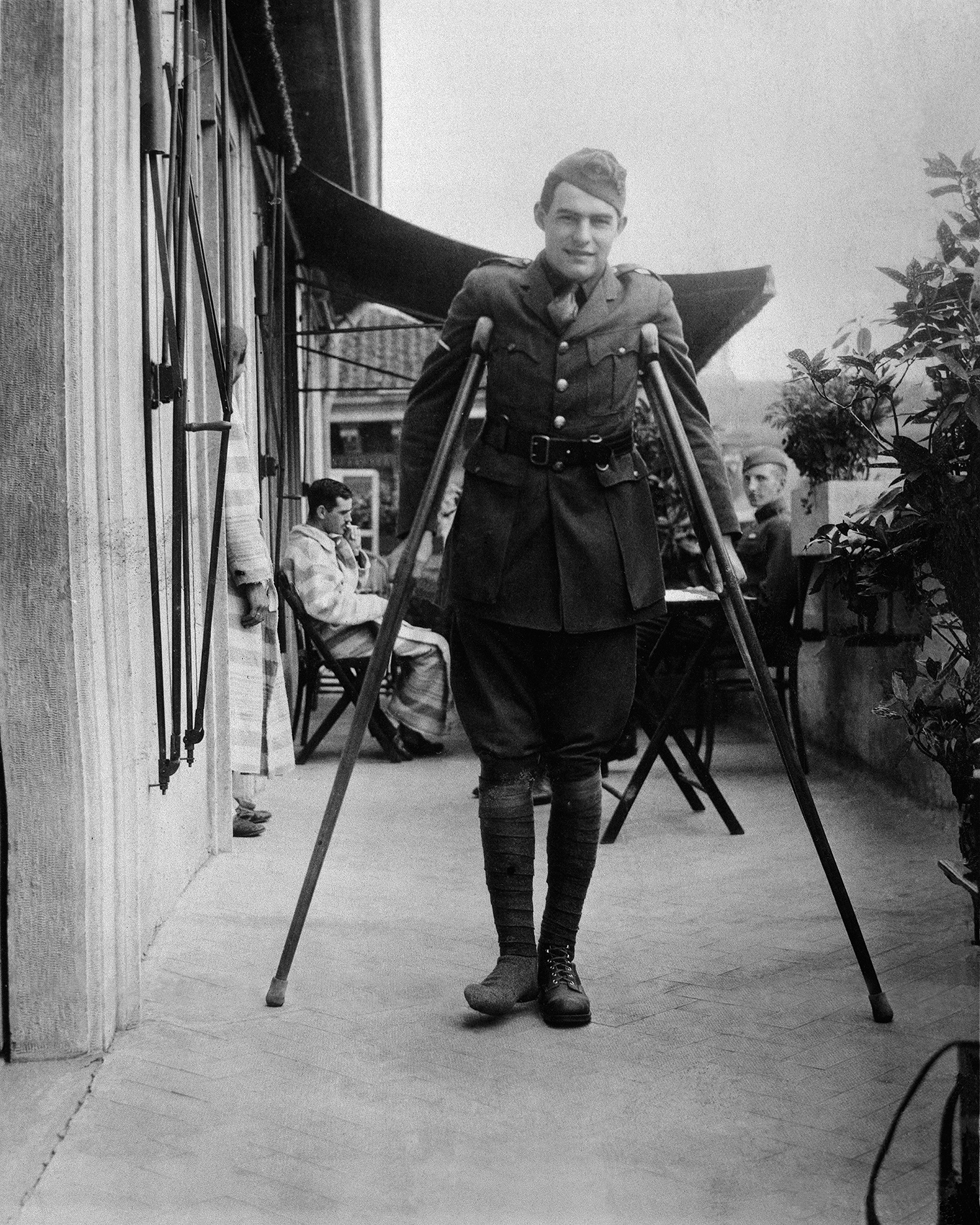 SOLDIER...Hemingway on crutches while recovering in Milan, Italy, September 1918. Pic: JFK Presidential Library and Museum.