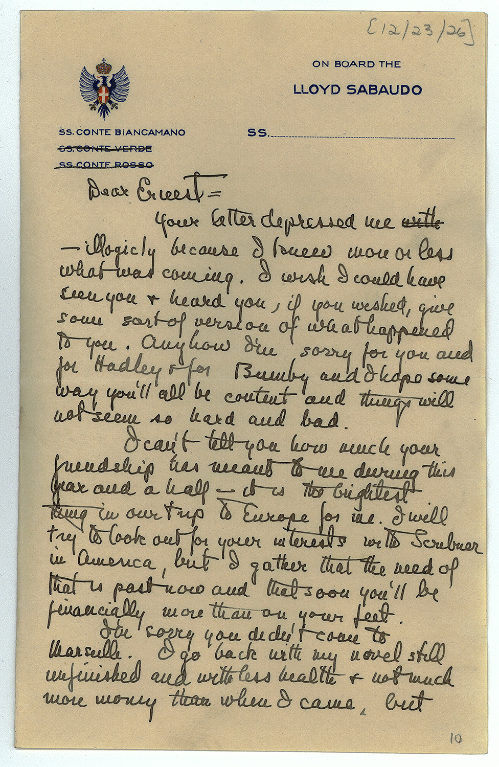 FRIEND...F. Scott Fitzgerald letter to Hemingway in 1926. Pic: JFK Presidential Library and Museum.