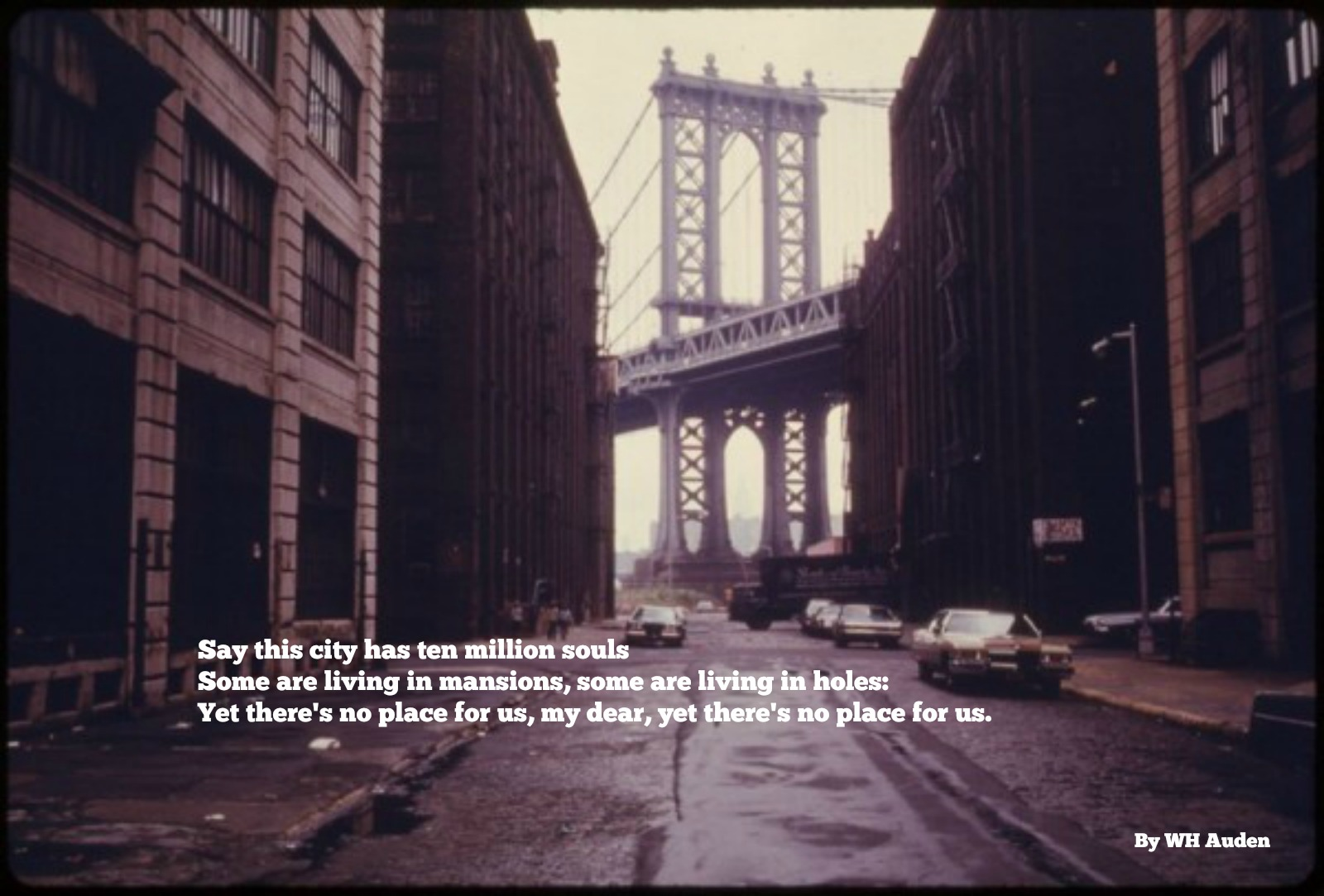 Manhattan bridge from Brooklyn 70s