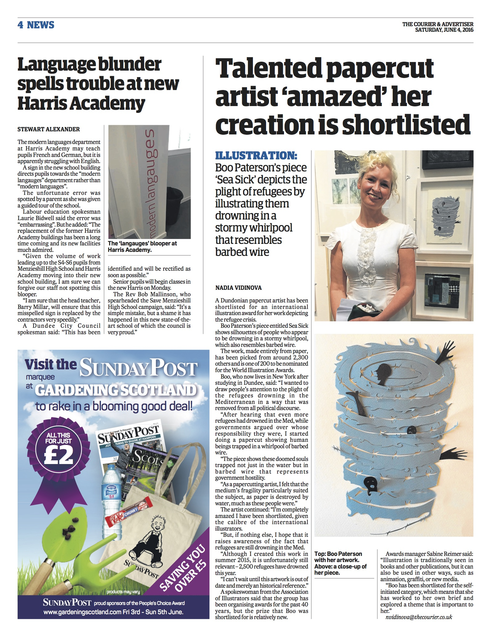 News story in The Courier about Boo Paterson's nomination in World Illustration Awards
