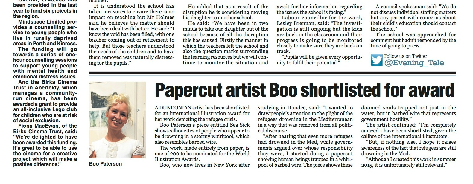 News story in The Evening Telegraph about Boo Paterson's nomination in World Illustration Awards
